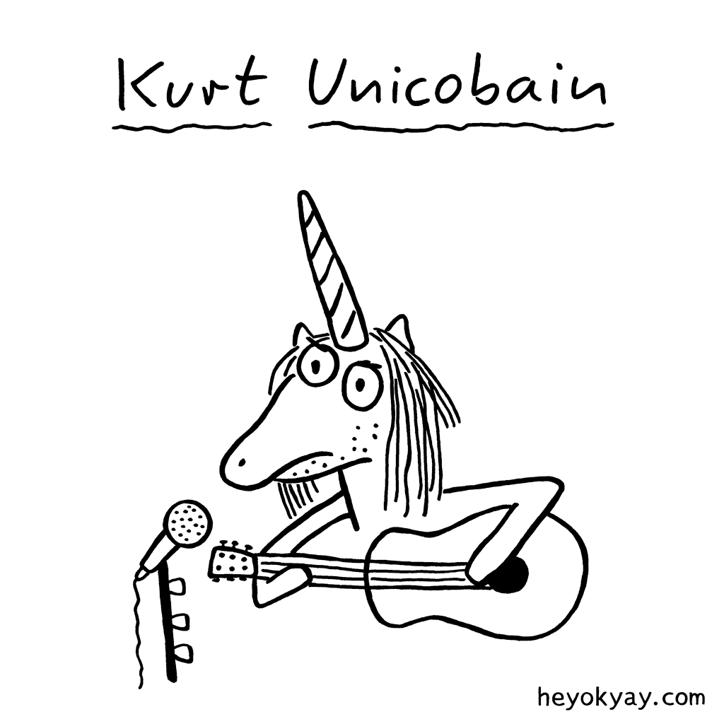 Kurt Unicobain | Hey ok yay? | cartoon, Kurt Cobain, Nirvana, unicorn, guitar, grunge
