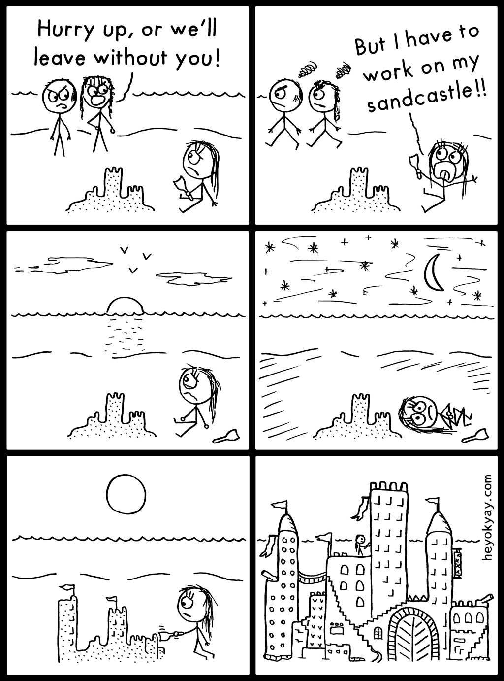 Sandcastle | Hey ok yay? | Hurry up, or we'll leave without you. But I have to work on my sandcastle! | Loneliness, left alone, beach, sea, vacation, parents, artist