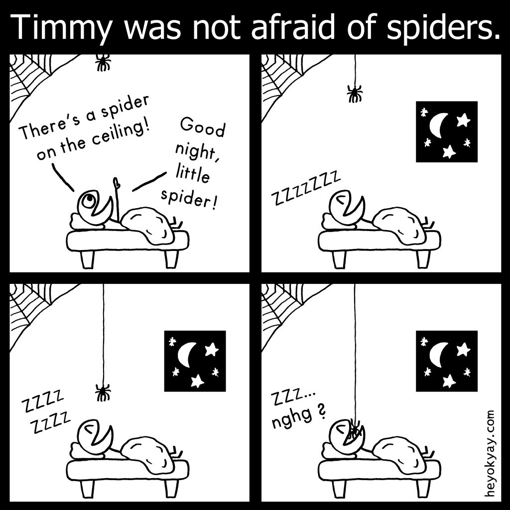 Spider | Hey ok yay? | Timmy was not afraid of spiders. There's a spider on the ceiling! Good night, little spider! zzzzz, nghg? | Goodnight, sleeping, spiders, disgusting
