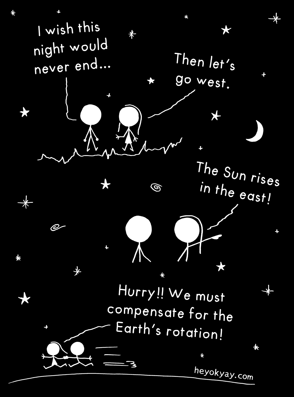 Summer night | Hey ok yay? | I wish this night would never end. Then let's go west! The Sun rises in the east. Hurry! We must compensate for the earth's rotation! | universe, sunrise, stars, romance, astronomy
