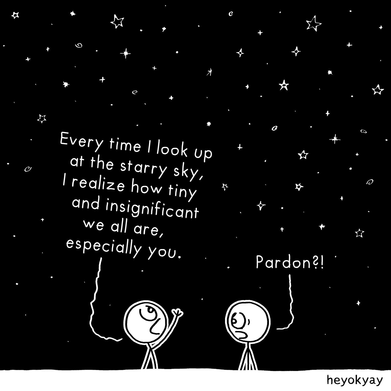Every time I look up at the starry sky, I realize how tiny and insignificant we all are, especially you. Pardon?! Insignificant heyokyay comic