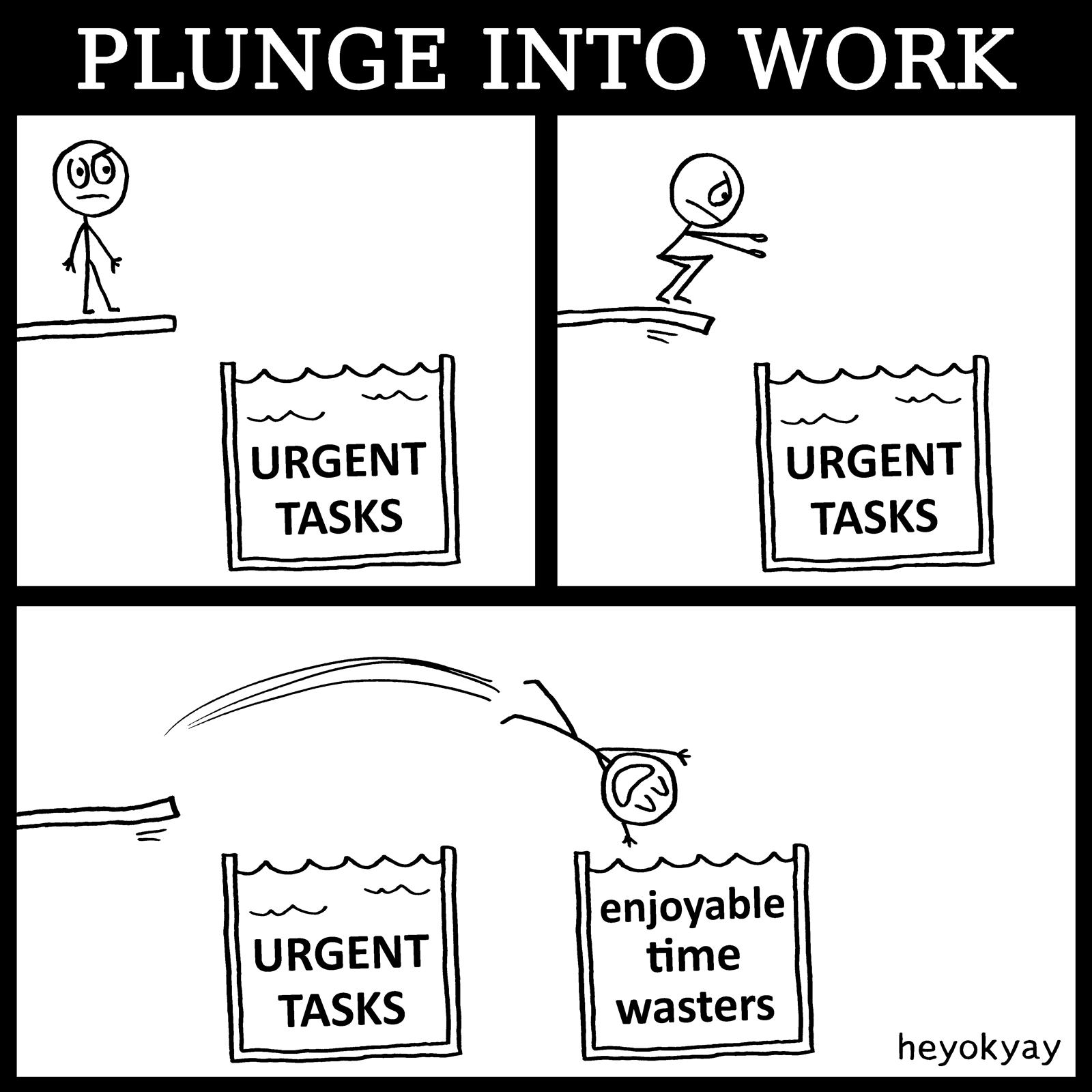 Plunge Into Work heyokyay comic
